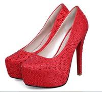 Fashion Diamond thin high heels crystal wedding waterproof bride shoes