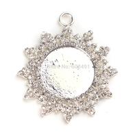 Frozen Silver Plated Snowflake Pendant inner 18mm Rhinestone Cap, Rhinestone Charm/ Pendant Tray/Blank for Glass Cabochon 10pcs