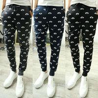 Free Shipping Men's New Fashion Eyes Printing Jogging Dance Harem Sweat Pants Sport Casual Slim Feet Trousers Slacks