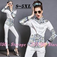 S-5XL Brand Baroque Print Long Sleeve Shirts Ladies Tops White Silk Blouse 2014 Autumn Fashion Plus Size Women Clothing G087