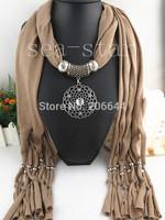 2014Hot Newest design tassel scarf EUROPE popular circle pendant scarf