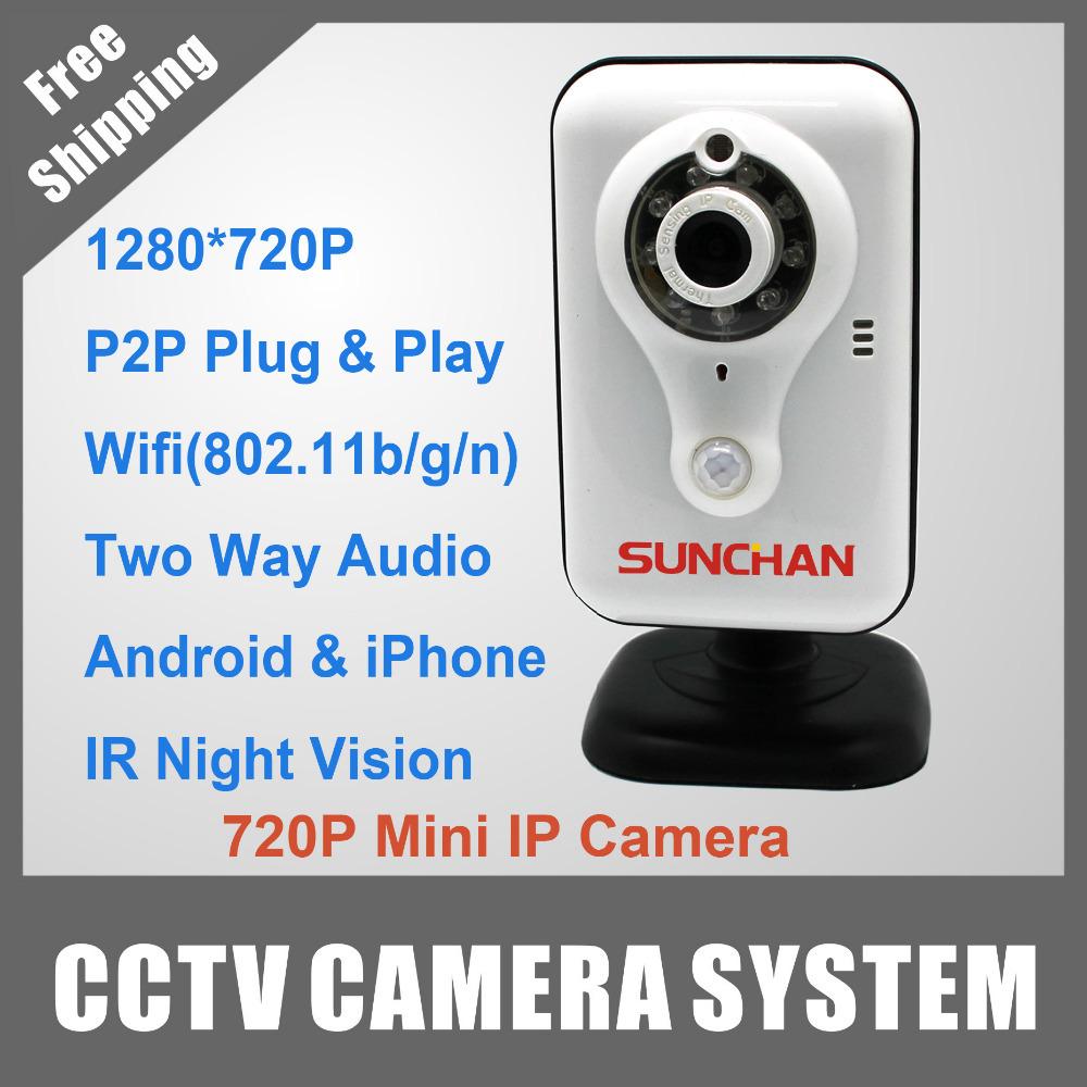 SunChan Indoor Use Mini Wireless IP Camera H.264 M-JPEG/JPEG Wifi/3G P2P HD Megapixel Network EPC-HR703(China (Mainland))