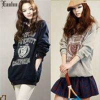 Lanluu New Korean 2014 Autum Long Sleeve Letter Print Casual Plus Size Sweatshirt Women Coat SQ755