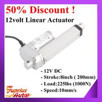 "50% Discount ! Heavy Duty 200mm/8inch Stroke1000N/225 Pound Load Electric 8"" DC 12V Linear Actuator Waterproof IP65"