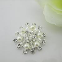 (FL229) Free shipping! 20 pcs Beautiful  Flower Pearl Crystal Silver Tone Flatback Rhinestone Embellishemnt For Hair bow