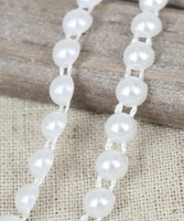 Wholesale 4mm*50m Half Round Flat Back Imitation Pearl Beaded Trims Used for Garment,Jewelry,DIY dress Decoration