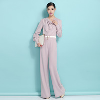 Free Shipping 2014 Spring Long-sleeve Female Loose High Waist Jumpsuit Women,Rompers Womens Jumpsuit,Large Size,S M L XL 2XL