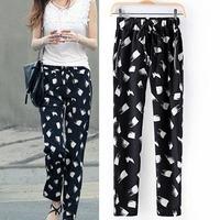 2014 Famous Brand Women Harem Pants Slim Print Cotton Elastic Mild-Waist Fashion Trouser Spring Summer Fall wear CL1829