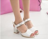 2014 fashion PU party thick high-heeled cingulate diamond sandals