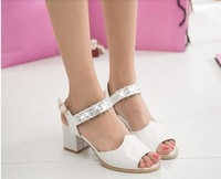 2014 fashion PU party thick high-heeled cingulate diamond sandals