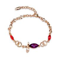 Fashion New 2014 Designer Gold Bracelets & Bangles For Women Brand Big Luxury Purple Rhinestone Bracelet Charm Jewelry Pulseiras