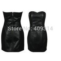 2014 Summer Autumn New Brand UK 6XL Plus Size Women Sexy Black Sleeveless Faux PU Leather Club Skater Short Skirts