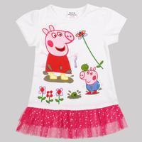 new in 2014 nova kids brand girls tunic top lovely peppa pig summer short sleeve cotton white T-shirt for baby girls K4440