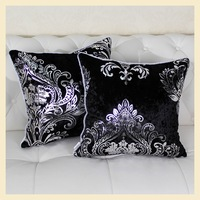 Black Luxury Decorative pillowcases Cushion cover for Leather Sofa Double jacquard pillow Cases decorate 1pcs B8066