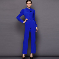 Free Shipping Long-sleeve Jumpsuit 2014 New Spring and Summer Trousers Stand Collar Casual Trousers Jumpsuit Women,S M L XL
