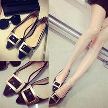 Grátis frete código de tamanho loja de livro 2014 primavera e outono novos sapatos fivela quadrada de um sapatos de couro das mulheres sapatos único(China (Mainland))
