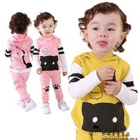 Children's clothing 2014 autumn child set male child sweatshirt piece set 0 - 1 - 2 years old baby clothes