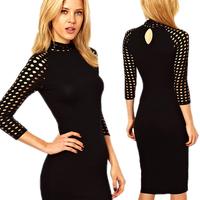 2014 Newest Women OL Pencil Dresses Women Spring Summer Hollow Slim Sleeve Bodycon Knee-Length Sexy Dress S-XXL