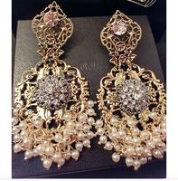 2014 New Baroque vintage earrings flower pearl cutout carved tassel earrings fashion women statement vintage earring