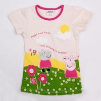 NOVA Kids wear child clothing printed cartoon peppa pig hot sale girls short sleeve t-shirt K4531
