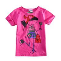 children t shirt Nova kids clothing printed beautiful cartoon girl summer glitter printed girls short sleeve T-shirt KF1500