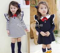 Retail-free shipping new autumn England Style bowknot girls princess dress baby girls dress vestidos de menina roupa infantil