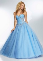 Light Blue Prom Ball Gowns Party Dresses Beaded Tulle Sweetheart Neckline with Lace Up Back FY069