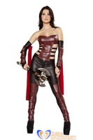 New 2014 Hot 3 Piece Sexy Warrior Costume Brown Women Halloween Suit wholesale, fast free shipping HL1004