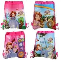 2014 Sofia newest cartoon images of boys and girls woven Drawstring  bag beach bag