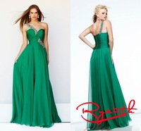 RBC769 Wonderful Green One Shoulder Sweetheart Chiffon Long Prom Dresses 2014 Formal Evening Gown Fast Shipping