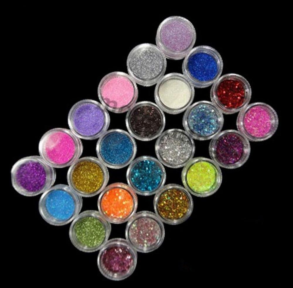 24 Color Nail Art Makeup Decoration Glitter Dust Powder(China (Mainland))