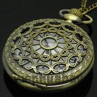 Bronze Antique Vintage Spider Web Hollow Pendant Necklace Quartz Steampunk Pocket Watch P01