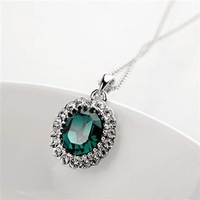New arrival /Free shipping/wholesale/High quality/New Austria rhodium plated green pendant Necklace Nickel Free Crystal Jewelry