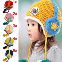 Free shipping 1piece Child plus velvet knitted Winter warm Baby Kid Bomber Hat,Boy/girl Hat children, ear protector thicken cap