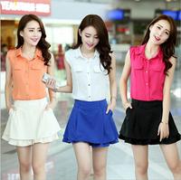 Women Summer Modern Solid Chiffon Sleeveless Vest Shirt Blouse