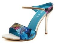 2014 high heels elegant female peep-toe diamond color matching metal decoration sandals
