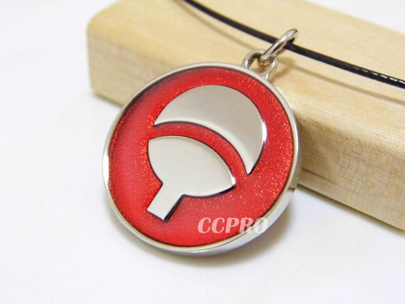 Anime Naruto Uchiha's family symbol and write round eye marks metal pendant red!(China (Mainland))