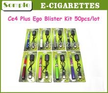 Wholesale CE4s Blister Kits E Cig  Ego T Battery 650mah 900mah CE4+ Clearomizer For E-cigarette Kits Ego CE4 Plus Kit 50pcs/lot