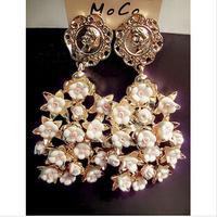 2014 New Baroque vintage earrings rose pearl  earrings fashion women statement vintage earring