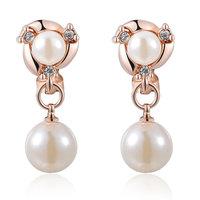 ROXI Luxury Pearl Drop Earrings 3 Times Gold Plated Fashion Clip Earrings Christmas Gift Statement Earrings for Women Jewelry