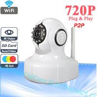 P2P Plug and Play 720P MegaPixel HD Wireless Wifi IP Camera CCTV with Pan/Tilt SD Card Slot and IR Cut