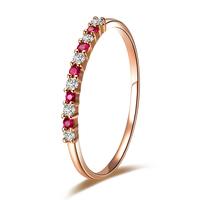925 pure silver diamond ring 18k rose gold diamond ring ruby jewelry women's ring