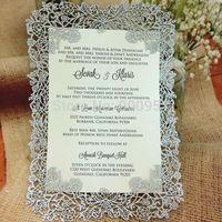 Laser cut rose wedding invitation card (Invitation card+Insert card+Envelope/ full Set)