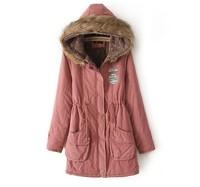 2014 New Fashion Women's Large Size Winter Coat. Warm Fleece Hooded Fur Coat Down Jacket. Plush Drawstring Waist Outwear XS-XXL