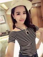 Lady's Fashion Summer New Arrival Short Regular Sleeve Slash Neck Striped Tees Shirts Free Shipping A501-2-2259#