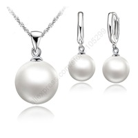 Nice Freshwater Pearl Jewelry Sets 925 Sterling Silver Necklace+Natural Pearl Hoop Earrings Wedding Jewelry Sets