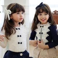 2014 Autumn Korean version of the new children's baby bow Girls long-sleeved T-shirt shirt