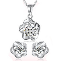 100% 925 Silver Jewelry Sets Sterling Silver Jewelry set for Women Plum Flower Set Free Shipping