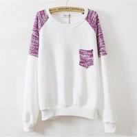 [Magic] 2014 fashion hoodies knitted sleeve pocket sweatshirts fleece inside women cotton sweatshirt 3 colors free shipping