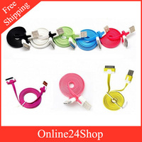 1m Flat Noodle Colorful Sync Data Charging Charger Adapter usb Cable for iphone 4 4s